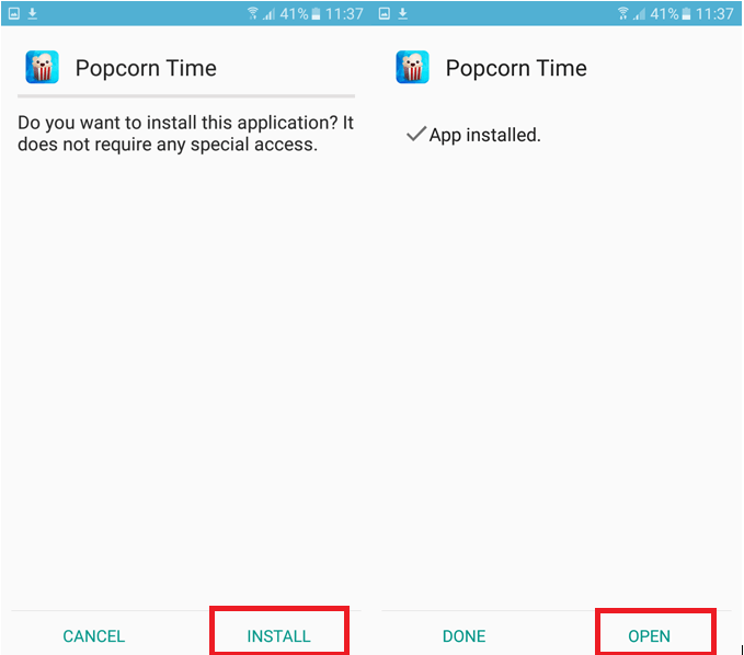 Installation of Popcorn Time