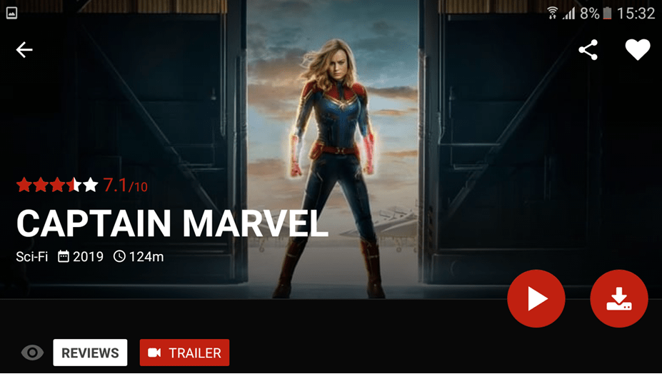 Captain Marvel On Popcorn Time