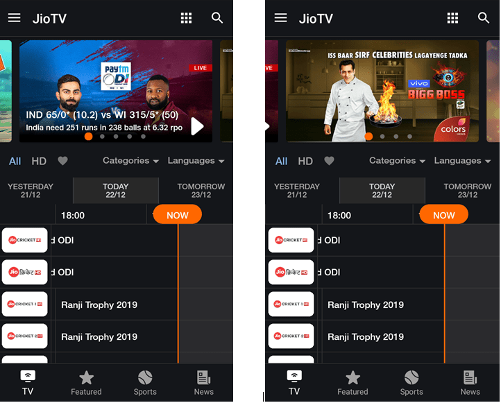 JioTV Modded Apk Screen Shots
